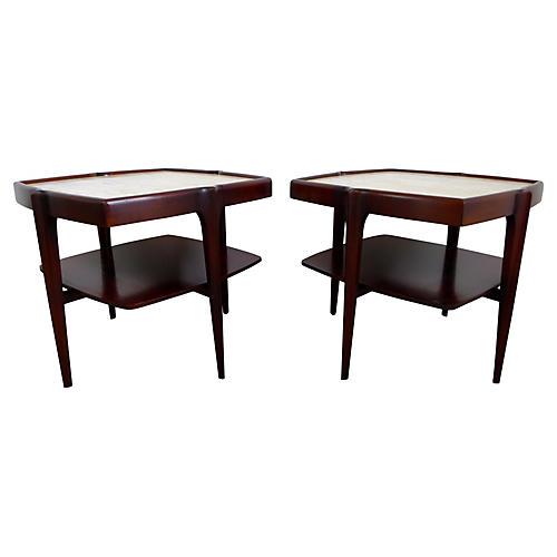 Mahogany & Travertine Side Tables, Pair