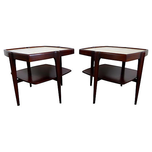 Mahogany & Travertine Side Tables, Pair