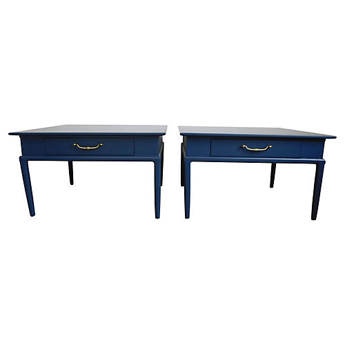 1960s Navy Lacquered Side Tables, Pair