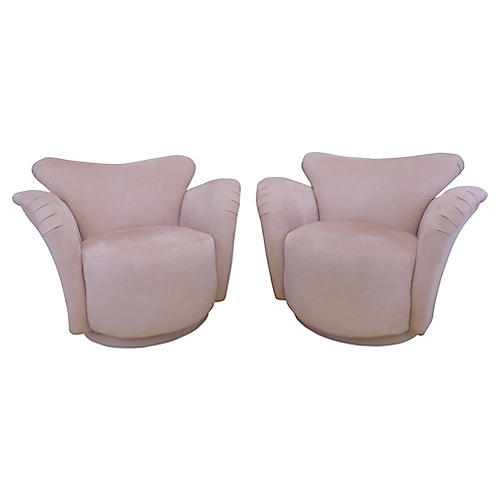 Vladimir Kagan-Style Swivel Chairs, S/2