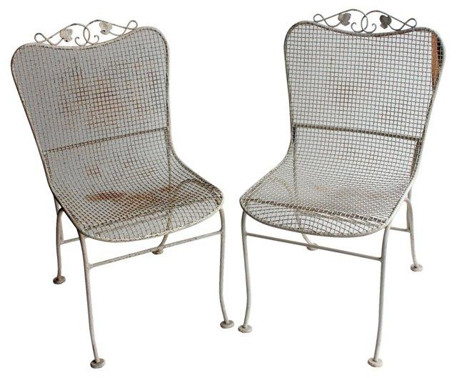 Steel Mesh Garden  Chairs, Pair