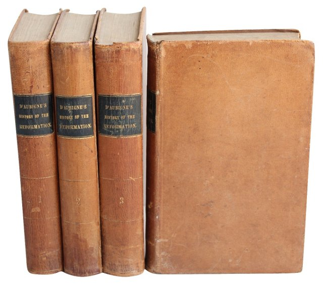 Antique Leather Books, 4 Vols