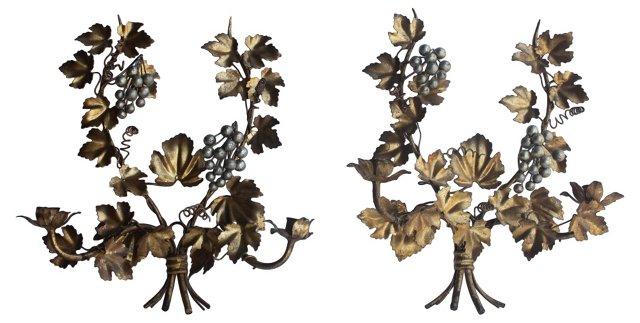 Italian Grape Sconces, Pair
