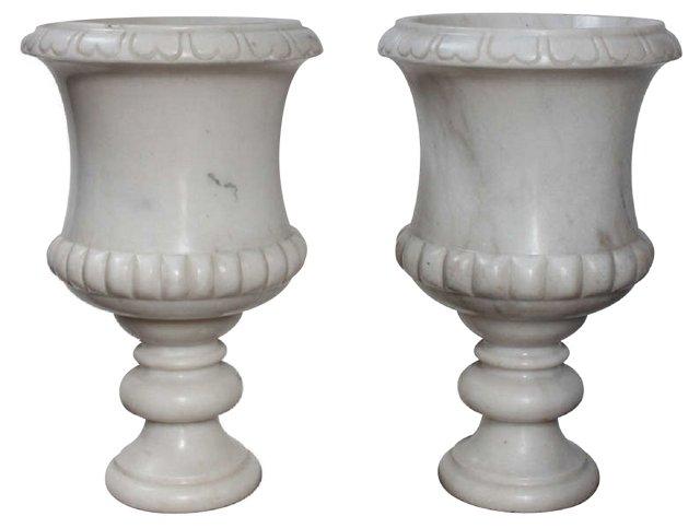 Italian Marble Urns, Pair