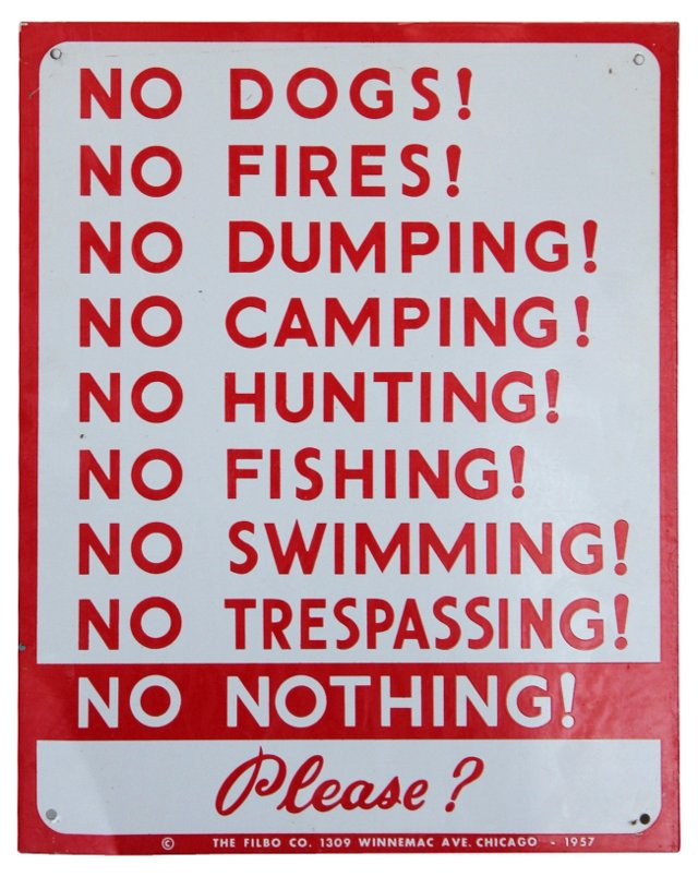 No Nothing! Sign