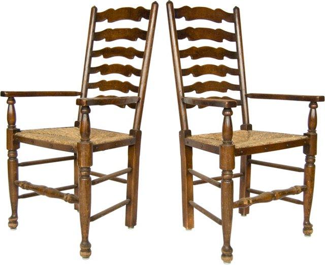19th-C. Ladderback Chairs, Pair