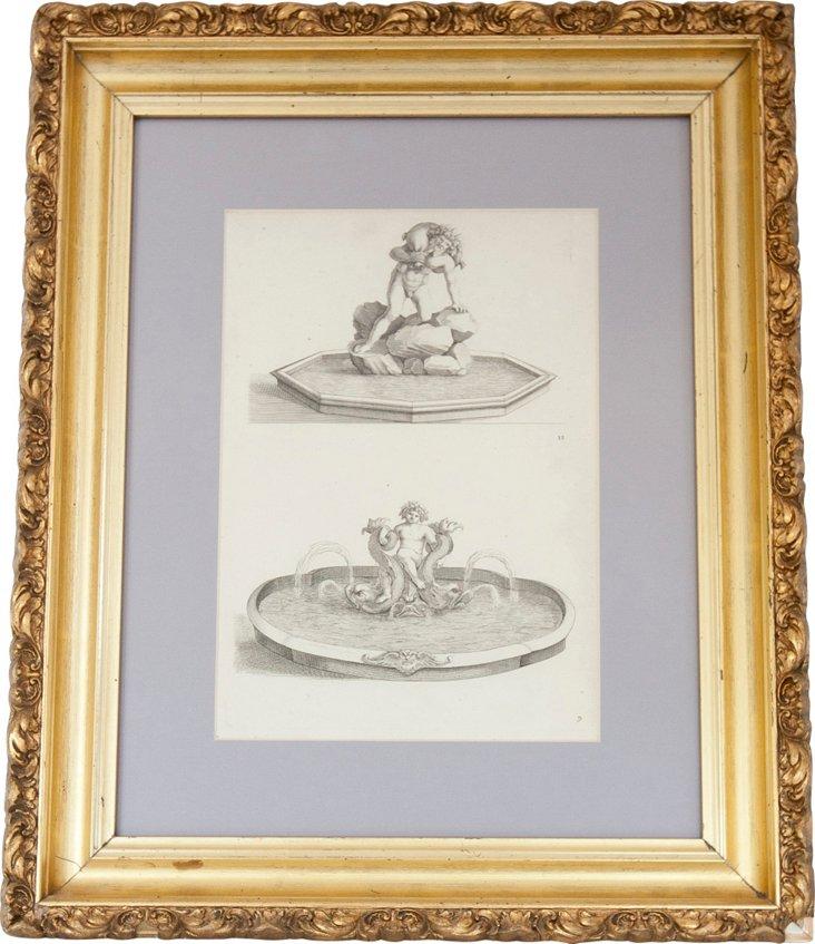 Antique Italian Fountain Lithograph