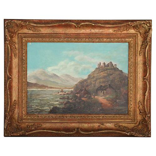 19th-C. Mountain & Lake Scene