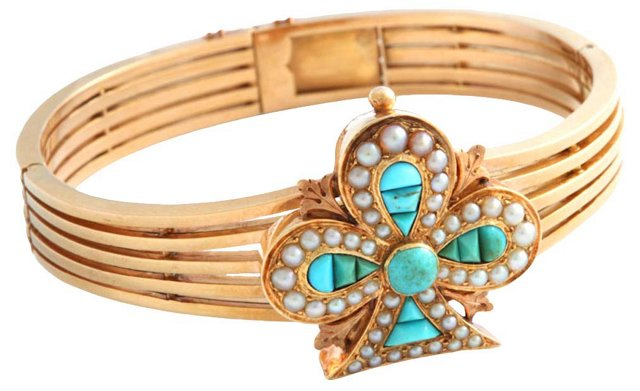 Victorian Turquoise Clover Bracelet