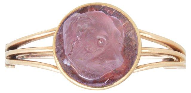Victorian Amethyst Dog-Cameo  Pin