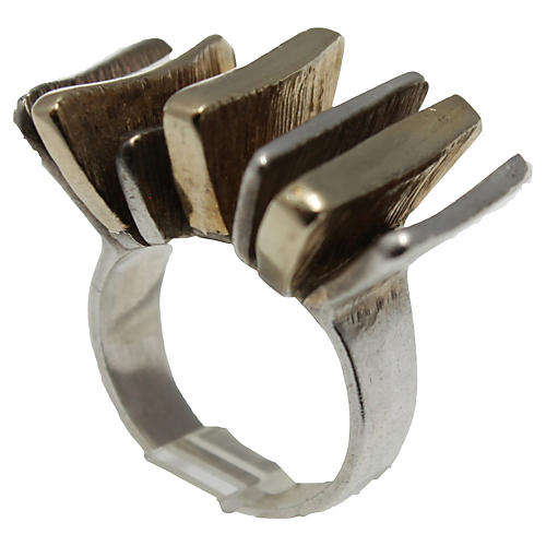 Mid-Century Modern Silver & Gold Ring