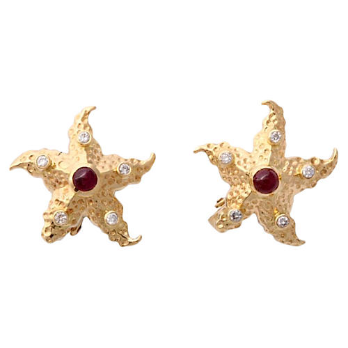 Ruby, Diamond & Gold Starfish Earrings