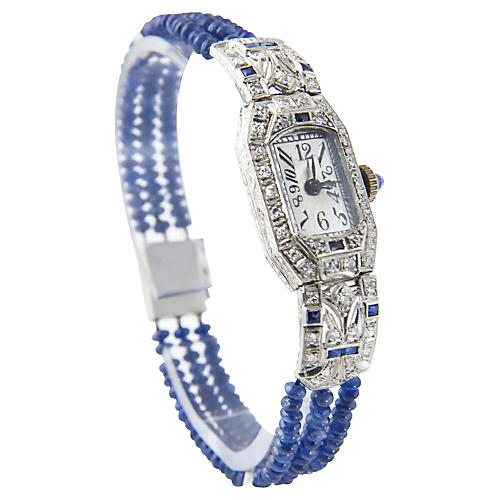Deco Diamond & Sapphire Filigree Watch