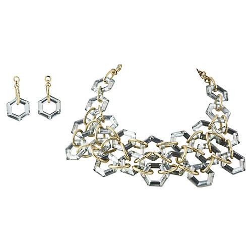 Statement Bib Necklace & Drop Earrings