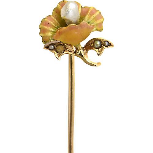 Art Nouveau Enamel & Gold Stick Pin
