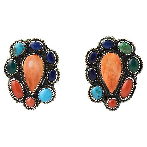 Navajo Silver & Multi-Gemstone Earrings