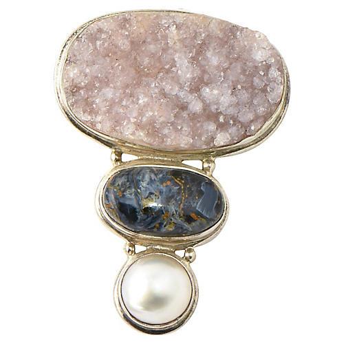 Quartz, Sodalite & Pearl Silver Pendant