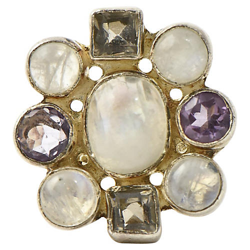 Moonstone & Quartz Silver Statement Ring