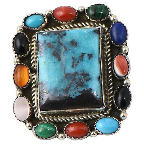 Bisbee Turquoise & Gemstone Pendant/Pin