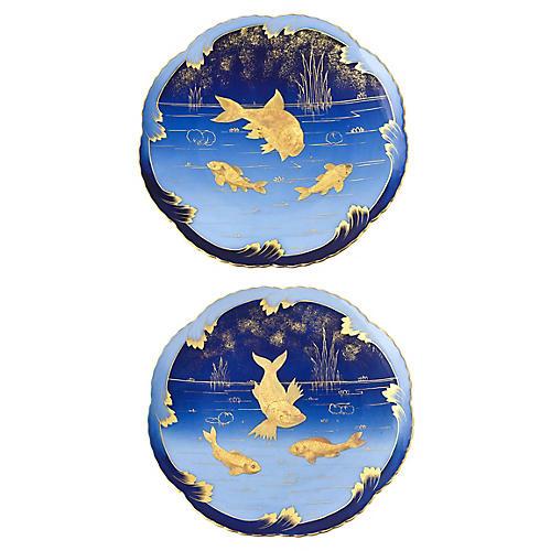 19th-C. Porcelain Fish Plates, Pair