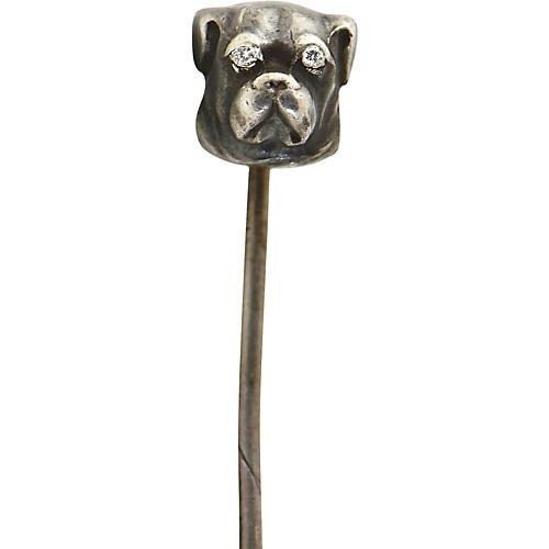 Victorian Silver Diamond Dog Stickpin