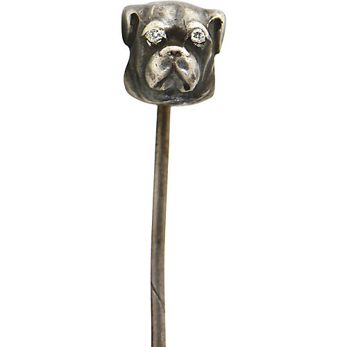 Victorian Silver Diamond Dog Stickpin
