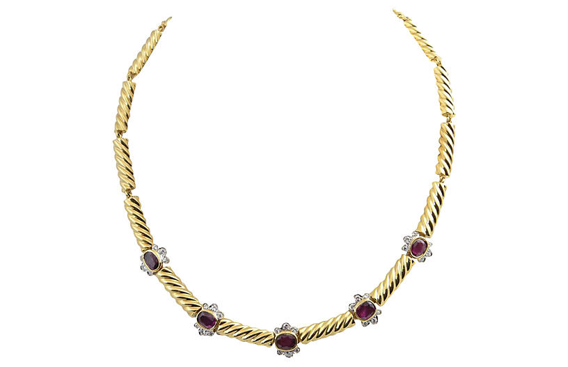 Gold Ruby & Diamond Necklace