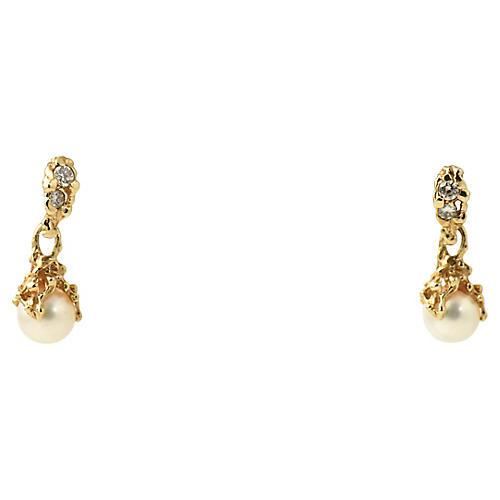 Organic Gold Pearl & Diamond Earrings