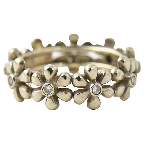 Diamond & White Gold Daisy Band Ring