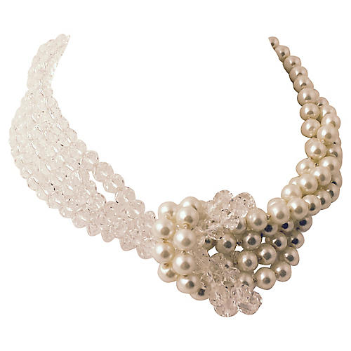 Crystal & Faux-Pearl Knot Necklace