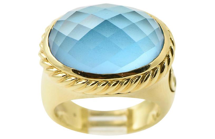 Yurman Blue Topaz & Gold Signature Ring
