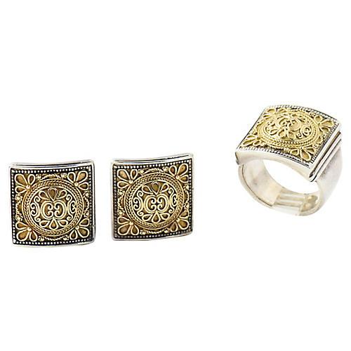 Konstantino Gold Silver Ring & Earrings