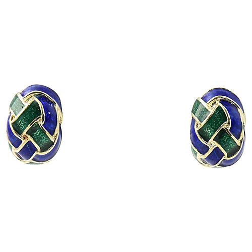 Woven Green & Blue Enamel Gold Earrings