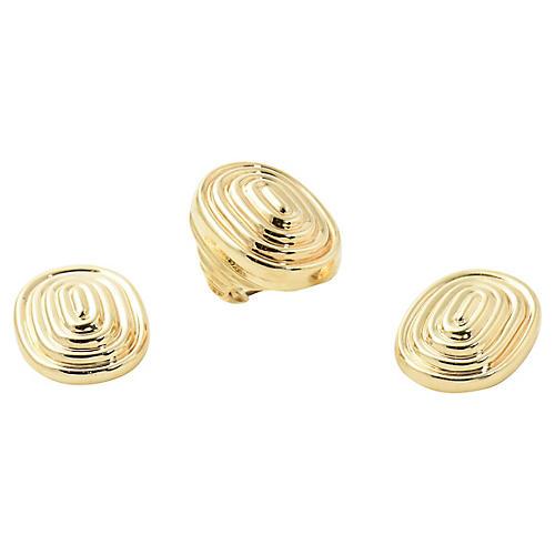14K Gold Ridged Earrings & Ring