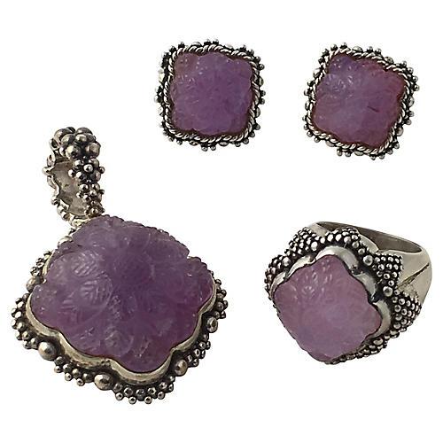 Dweck Amethyst Earrings, Ring & Pendant