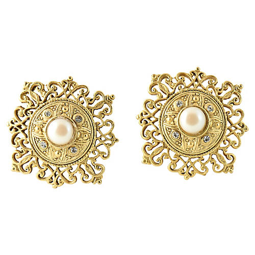 Goldtone Faux-Pearl Earrings