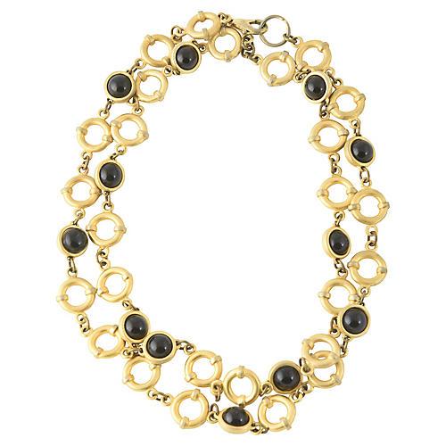 Onyx & Goldtone Chain Necklace