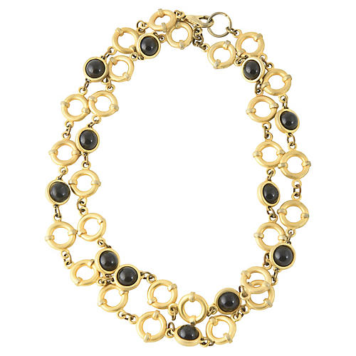 Onyx & Goldtone Chain Necklace