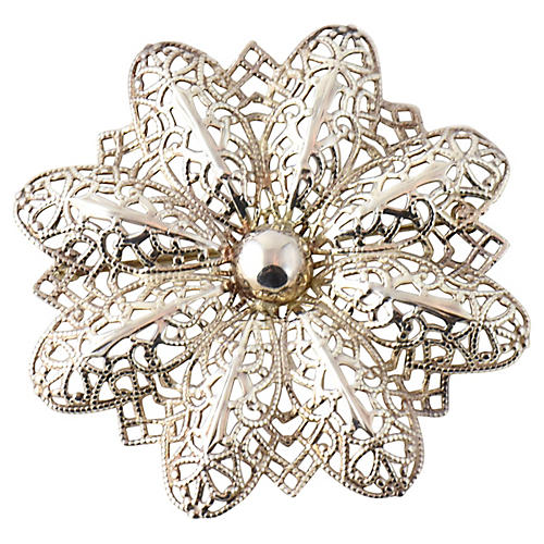 Sterling Pierced Ornate Flower Brooch
