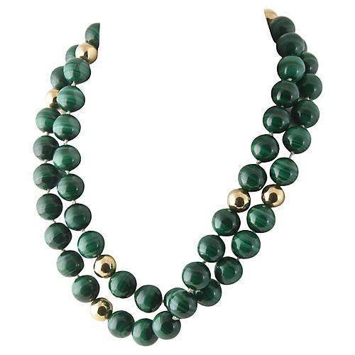 Malachite & Gold Multi-Strand Necklace
