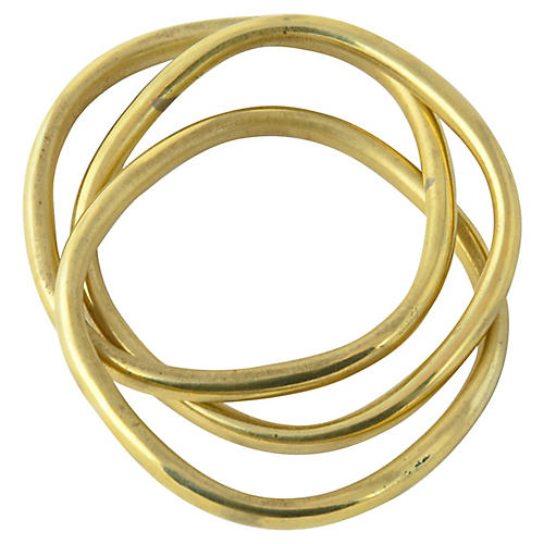 Intertwined Triple Brass Bangles