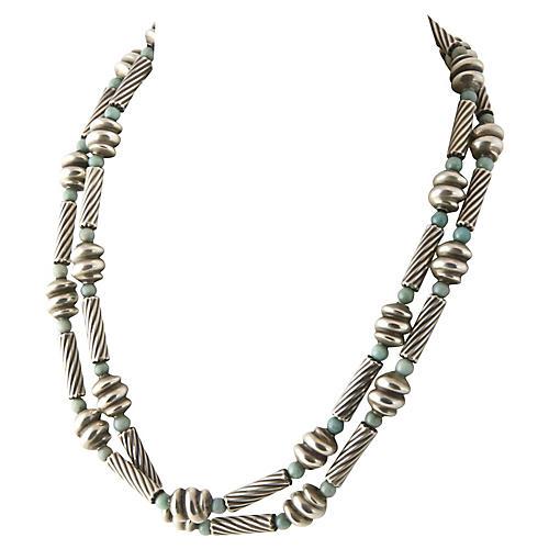 "Sterling & Chrysoprase 33"" Necklace"