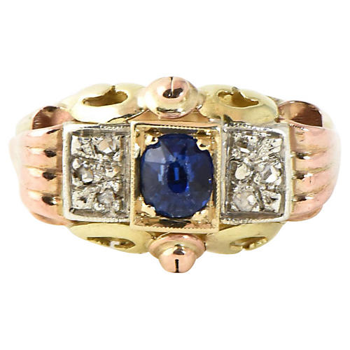 Antique Sapphire, Diamond & Gold Ring