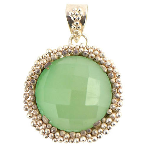Beaded Sterling & Prasiolite Pendant
