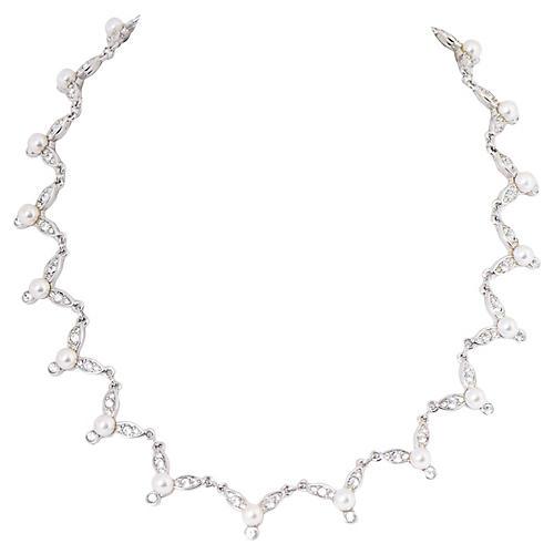 Signed Swarovski Pearl Crystal Necklace