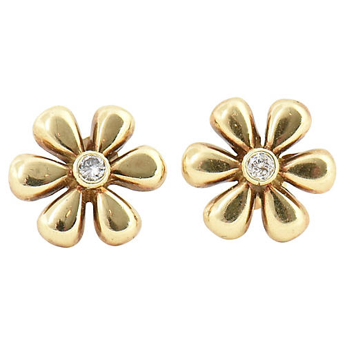 Diamond & Gold Daisy Flower Earrings