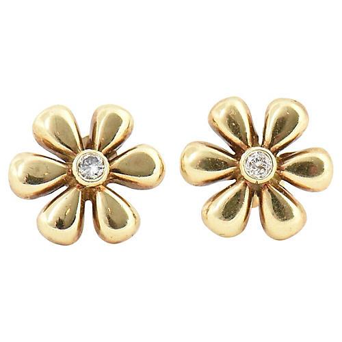 Diamond & Gold Daisy Flower Earrings