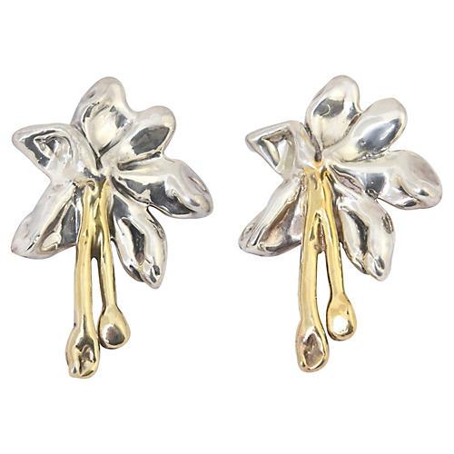 Large Sterling & Gilt Flower Earrings