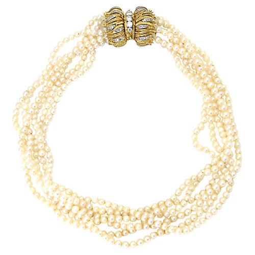 18K Gold, Diamond & Pearl Necklace