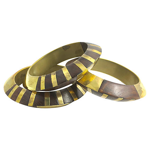 Wood & Brass Bangles, Set of 3